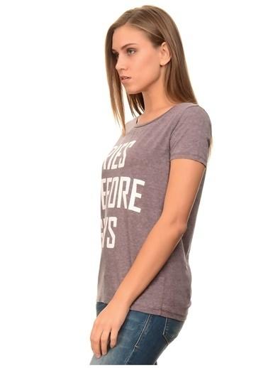 Only Only Yazılı Mor T-Shirt Kahve
